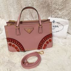 Prada double zip mini bag with crystals Excellent condition please contact me for more questions 6462860233 thanks :)  please visit my Facebook page luxury gallery 520 Prada Bags Mini Bags