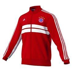 42.95 - Adidas FC Bayern Munich Anthem Jacket 2013 (Red White)  b03eb93574f