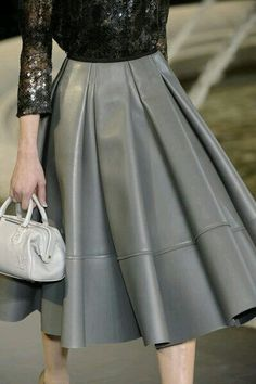 Flowing flared gray leather skirt