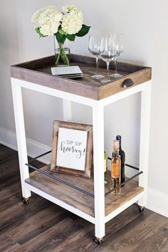 """I am so excited to show you guys this fun DIY project for today! I have partnered with Angela with """"Angela Marie Made"""" to present this DIY Bar Cart she has crea Diy Bar Cart, Gold Bar Cart, Bar Cart Styling, Bar Cart Decor, Bar Cart Wood, Diy Bar Stools, Rustic Bar Carts, Diy Furniture Projects, Bar Furniture"""