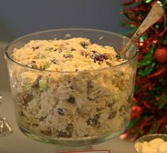 Cranberry Pecan Chicken Salad.   Among the things I made at a Crafts Event was this chicken salad recipe and it was a hit!  A lot of people gave me compliments, and I think it's the perfect recipe for a holiday luncheon. I served it on sliced croissants from Costco.