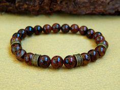 Bracelet homme en perles fines d'obsidienne acajou et agate du Tibet : Bijoux…
