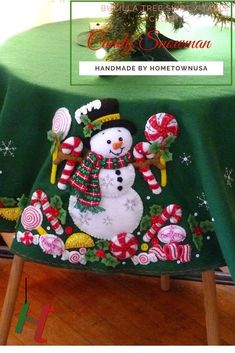 Finished - Bucilla Christmas Tree Skirt Or Table Cloth - Candy Snowman Christmas Sewing, Christmas Candy, Christmas Angels, Christmas Snowman, Christmas Crafts, Crochet Christmas, Felt Snowman, Snowman Crafts, Felt Crafts