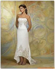 Antique Designer Embroidery Satin Affordable Wedding Dresses