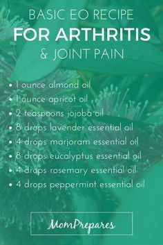 Essential oils are a natural and effective way to deal with symptoms of arthritis, such as pain and swelling. Read on for specific, science-based recipes.