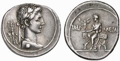 a) denarius of Octavian b) before 31bce c) silver d) Rome e) portrait w/thunderbolts; portrait with with a Victory on a sella curulis (= the special chair); referring to how he rebuilt the temple to Jupiter Feretrius (Jupiter Thunderer, roughly)