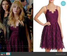 Ali's purple lace dress and leather cape on Pretty Little Liars. Outfit Details: https://wornontv.net/73338/ #PLL