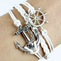 Anchor and rudder Bracelet silver bracelet white wax cords,white braided leather bracelet