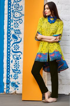 090567998b best khaadi yellow and blue short frock with black pajama new summer lawn dresses  2017 for Pakistani girls