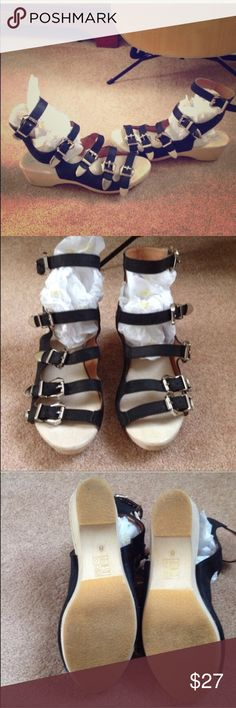 Strappy sandals - clog style soles Super cute sandals - sadly these just don't fit. They run like a small 8 or can likely fit a 7.5 too. These are a reposh- they're awesome and in virtually excellent condition. Jeffrey Campbell for Free People Jeffrey Campbell Shoes Sandals