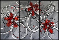 3 piece multi panel canvas art liquid painting abstract splashy red grey silver white black flower floral