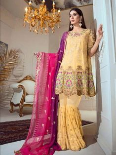 Classy yellow partywear straight cut suit online which is crafted from georgette fabric with exclusive embroidery work. This stunning designer straight cut suit comes with santoon bottom and chiffon with heavy work dupatta. Silk Anarkali Suits, Pakistani Suits, Best Designer Suits, Latest Salwar Suits, Women's A Line Dresses, Georgette Fabric, Wedding Suits, Fashion Pants, Fashion Online