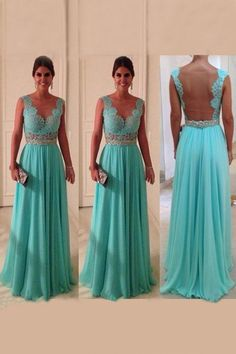 New Arrival V Neck A Line Exquisite Chiffon Beading Prom Dress