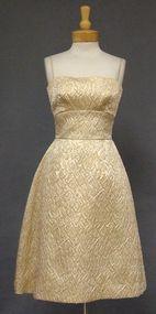 Harry Keiser Gold Matelasse 1960's Cocktail Dress