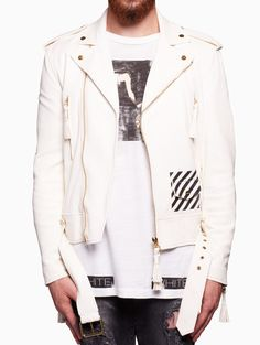 a64214c11b51 Blue collar biker from the S S2016 Off-White c o Virgil Abloh collection in  white