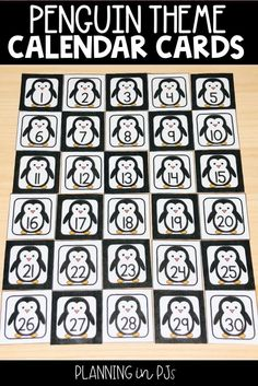 Penguin Calendar Numbers for December January February Calendar Activities, Number Activities, Classroom Calendar, Classroom Decor, Month Labels, First Day Of Winter, Calendar Numbers, School Events, Winter Cards