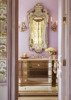 I think I love this color combo! Might have to paint the little lady's room a shade of lilac with whisper pink in the bathrooms! Splendor in the Bath. Lavender, Mirrored Glass, Silver, and Gold, Interior Design by Kendall Wilkinson Home Design, Design Ideas, Modern Design, Mirrored Furniture, Mirrored Vanity, Vanity Sink, Bathroom Vanities, Bathroom Furniture, Dresser Sink