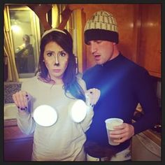 "Round touch lights from any hardware store and paper antlers and you are transformed into a ""deer in headlights."" 