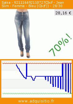 Salsa - 921116692110727Cbcf - Jean Slim - Femme - Bleu (Cbcf)) - 28/30 (Vêtements). Réduction de 70%! Prix actuel 28,16 €, l'ancien prix était de 95,00 €. https://www.adquisitio.fr/salsa/921116692110727cbcf-jean-2