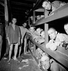 Prisoners at Buchenwald during the camp's liberation by American forces, April 1945.