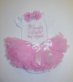 Princess NAME has arrived embroidered newborn by LittleQTCouture