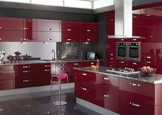 Burgundy Color | ... kitchen cabinets - Modern Kitchen With Maroon ...