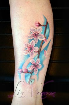 A beautiful cherry blossom tattoo by @Liz Mester Venom done at @Cristina Perim Ink Follow us on instagram!