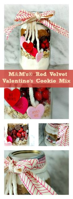 Edible Valentine Gift: M&M's® Red Velvet Cookie Mix in a Jar makes a delicious and fun gift for family, friends or someone extra special. Photo courtesy of @jkoeman84. AD