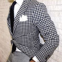 this is a great spring look...gingham check blazer, polka dot doby tie, houndstooth pant. white pocket square