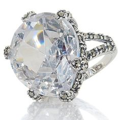 Victoria Crowne Teardrop CZ and Marcasite Sterling Silver Ring at HSN.com.  $17.46