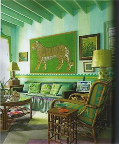 I adore everything about this room from House beautiful. It's a pool house, and I love the colors, the stripes, the way they painted the walls. Perfect FUN!