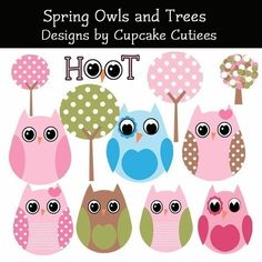 Spring Owls and Trees Whimsical Digital Clip art