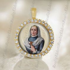 Catholic Medal St. Virginia Bracelli Gold Tone Pendant by ElDotti