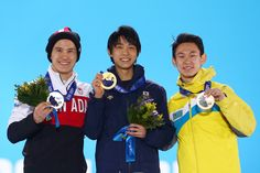 2014 Olympic podium men's figure skating: Silver-Patrick Chan(Canada), Gold- Yuzuru Hanyu(Japan), Bronze- Denis Ten(Kazakhstan)