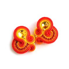Soutache earrings – Statement clip on earrings – Post earrings | SABO Design