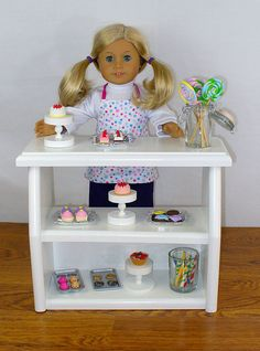 """American Girl Doll Furniture / 18"""" Doll Furniture Bakery Case with Accessories (White) on Etsy, $65.00"""