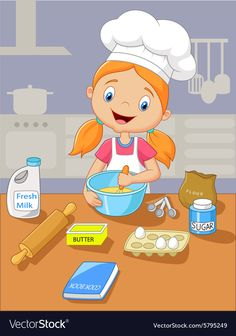 Cartoon little girl holding batter cake vector image on VectorStock Drawing For Kids, Art For Kids, Picture Composition, School Labels, School Clipart, Family Illustration, Community Helpers, Preschool Worksheets, Cartoon Kids