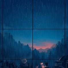 Night rain is the cosiest rain Aesthetic Gif, Aesthetic Wallpapers, Japon Illustration, Cute Love Gif, Futuristic Art, Anime Scenery, Jolie Photo, Wallpaper Backgrounds, Pixel Art