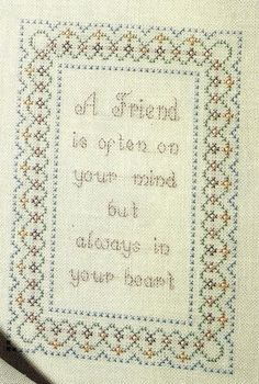 A Friend is always in your heart Sampler Cross Stitch Pattern from a book Border #crossstitchpatternfromabook #Sampler