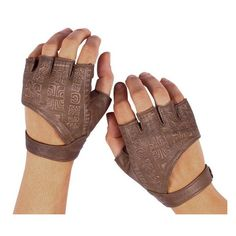 Leather Fingerless Gloves ❤ liked on Polyvore