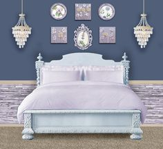 Lavender, Country Blue, Ice Blue, and Khaki Bedroom Color Scheme Flower Paintings by Amborela