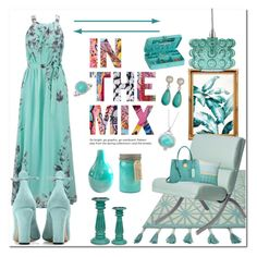 """""""Shades of teal"""" by rachelbarkhodesigns ❤ liked on Polyvore featuring PTM Images, Loloi Rugs, I Love Living, Home Decorators Collection, Miu Miu, Valentino, Paddywax, Elements, Ross-Simons and Exex Design"""
