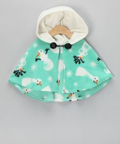 Take a look at this Mint Snowman Poncho - Infant, Toddler & Girls on zulily today!