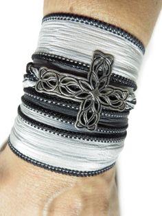 Cross Silk Wrap Bracelet Yoga Jewelry Bohemian Black Gray Wrap Bracelet Wrist Band Silk Ri... $25.90