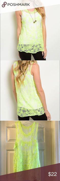 Neon lime tank NWT 100% polyester neon lime tank. Does not come with camisole. Shell only. So fun for summer. Tops Tank Tops