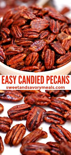 Candied Pecans For Salad, Spiced Pecans, Candied Nuts, Toasted Pecans, Savory Roasted Pecans Recipe, Cinnamon Almonds, Roasted Nuts, Appetizer Recipes, Snack Recipes