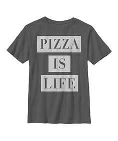 Charcoal 'Pizza Is Life' Crewneck Tee - Boys