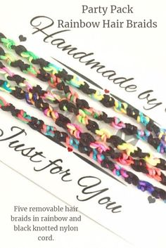 Party (or festival) hard with this pack of 5 rainbow coloured extension-style hair braids. Pamper Party, Sleepover Party, Handmade Jewellery, Boho Jewelry, Etsy Handmade, Handmade Items, Name Keyrings, Hair Pack, Festival Accessories