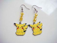 Pikachu Pokemon Dangle Earrings Anime by PaganCellarJewelry, $13.99