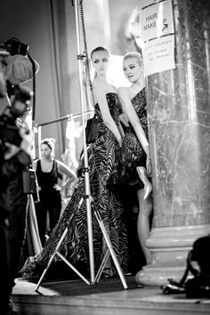 Pin for Later: If You Thought Catwalk Couture Looked Amazing, Wait Until You Go Backstage  Models at Zuhair Murad pose as they prepare to walk.